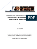 Assessment of Performance Measurement