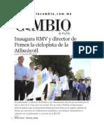 27-11-2014 Diario Matutino Cambio de Puebla - Inaugura RMV y Director de Pemex La Ciclopista de La Atlixcáyotl
