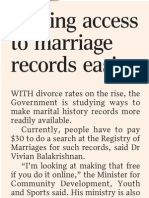 Making access to marriage records easier, 29 May 2009,   Straits Times