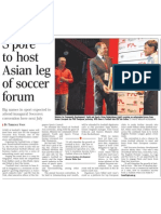 S'pore to host Asian leg of soccer forum, 27 Oct 2009, Straits Times