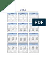 Calendario 2014 Excel Lunes a Domingo
