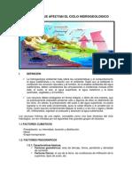 Factores Que Afectan El Ciclo Hidrogeologico