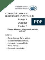 Practica 2 El Papel Del Suelo y El Agua en La Nutrición Autótrofa.