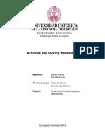 activities and scoring instruments - galvez and huenupe