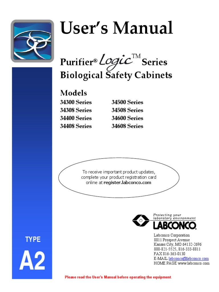 Purifier logic class ii type b2 biological safety cabinets labconco.