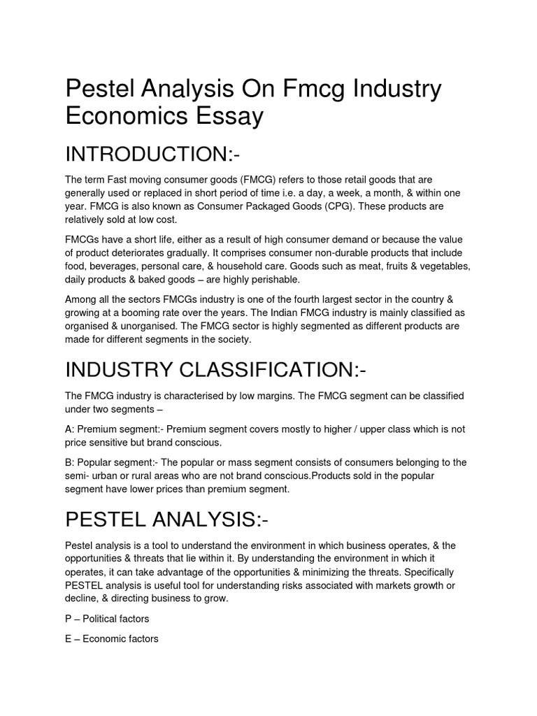 Pestel Analysis on Fmcg Industry Economics Essay | Inflation