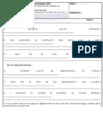 Evaluation Géographie CM1 Compétences évaluées