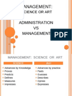 Management Science or Art Administration vs Management