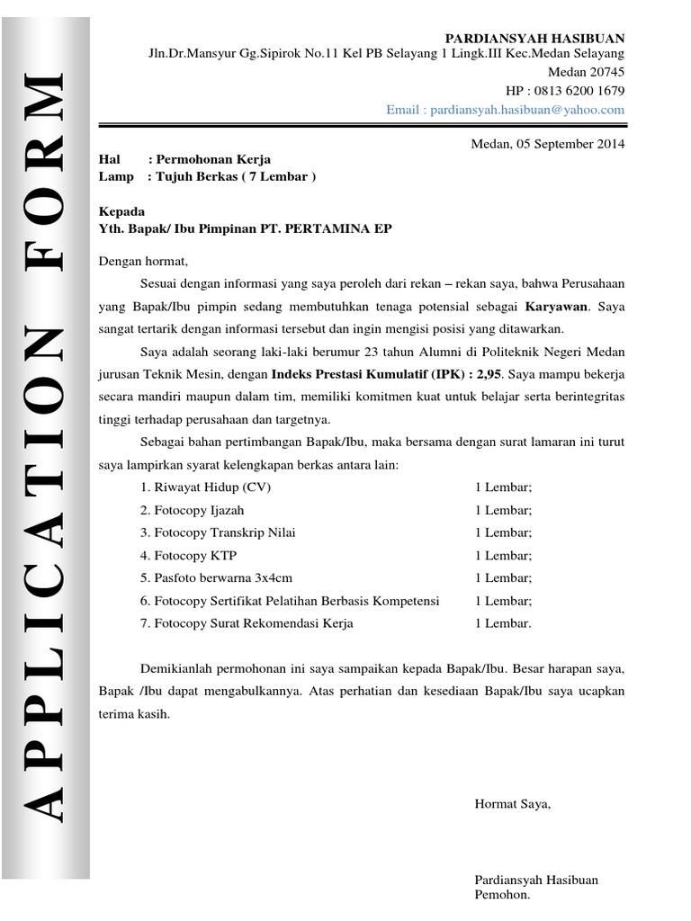 Contoh Surat Lamaran Cv Pt Pertamina Ep