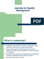 Leadership for Quality Management New