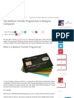 Top Balance Transfer Programmes in Malaysia Compared