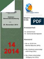 Eslarner Gemeinderatssitungen - Mitschrift v. 25.11.2014