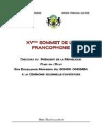 Discours du Président de la République Ali Bongo Ondimba au XVème Sommet de la Francophonie