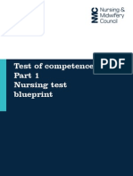 Test of Competence - Part One - Nursing Test Blueprint