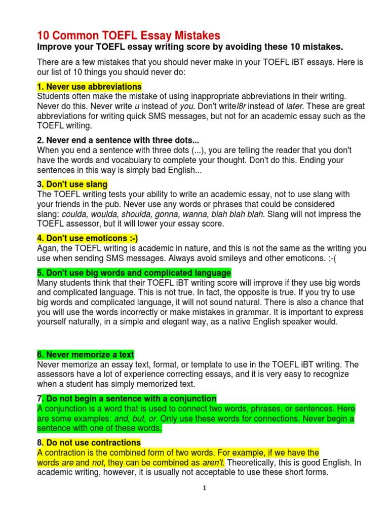 toefl essay writing
