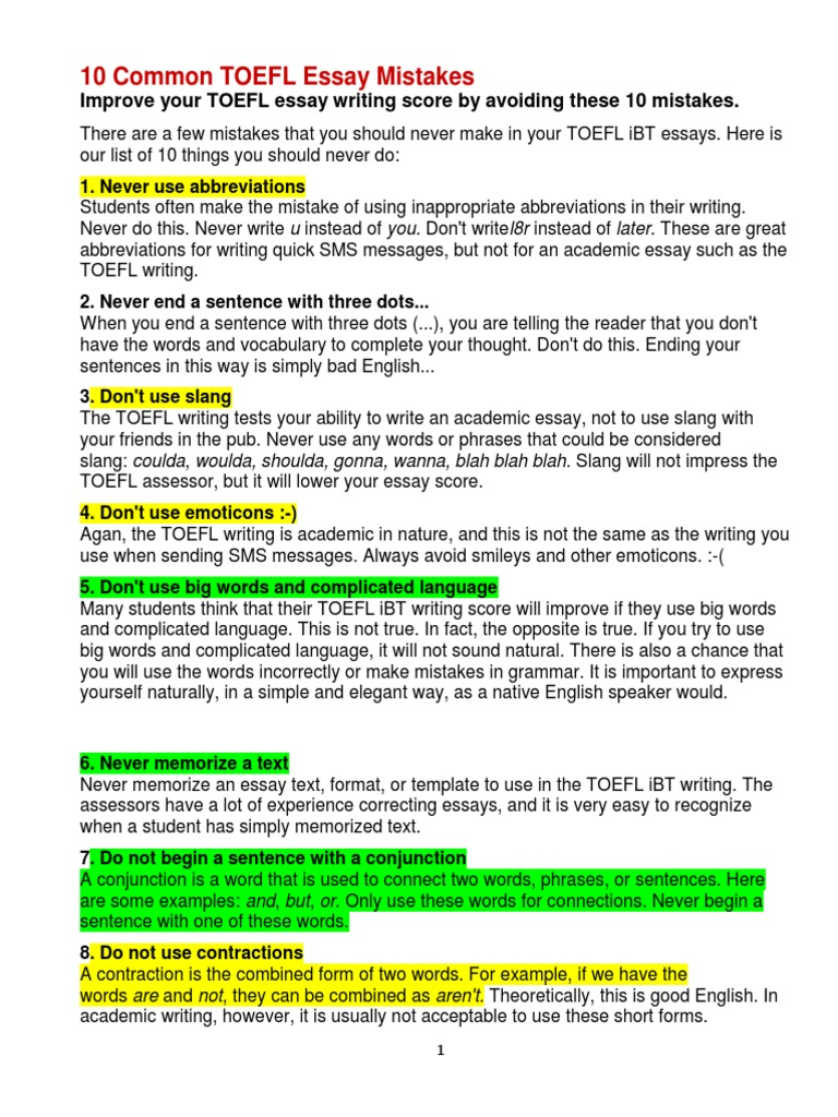 10 Common TOEFL Essay Mistakes.   Correlation And Dependence   Argument