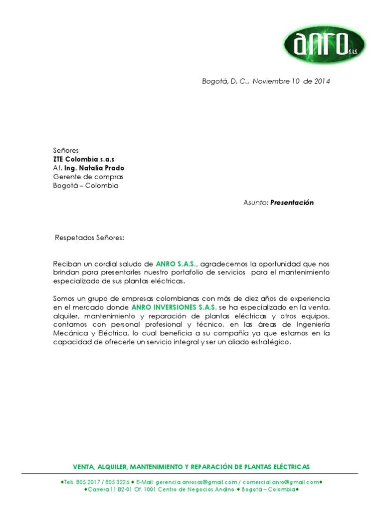 Carta Presentación ZTE