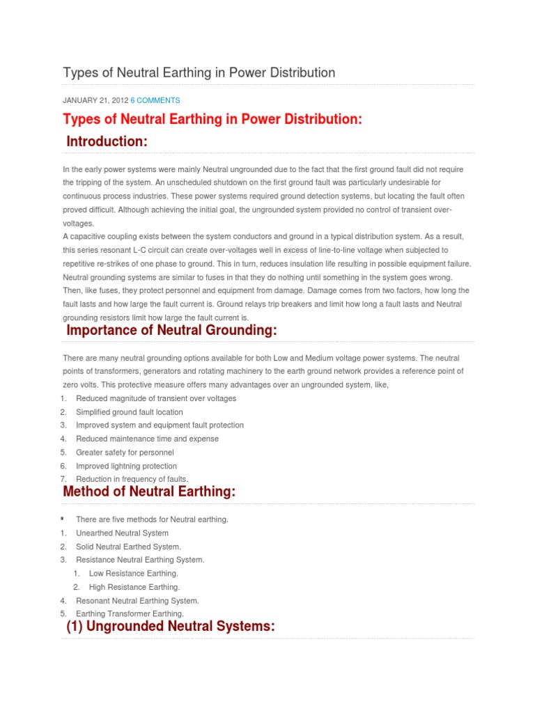 Types of Neutral Earthing in Power Distribution | Resistor