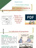 Thème 211 Des Regards Croisés l'Analyse Néo-classique Du Marché Du Travail Et Ses Développements