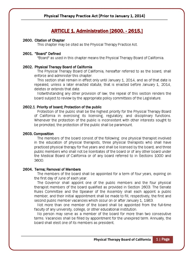 California board of physical therapy - California Board Of Physical Therapy 1