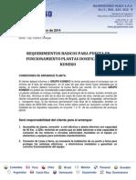 Requerimientos Planta Koneko Kpd30lt-2014
