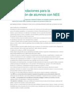 Recomendaciones Para La Integración de Alumnos Con NEE