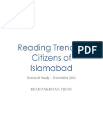 Reading Trend of Citizens of Islamabad