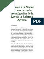 Mensaje a La Nación Con Motivo de La Promulgación de La Ley de La Reforma Agraria