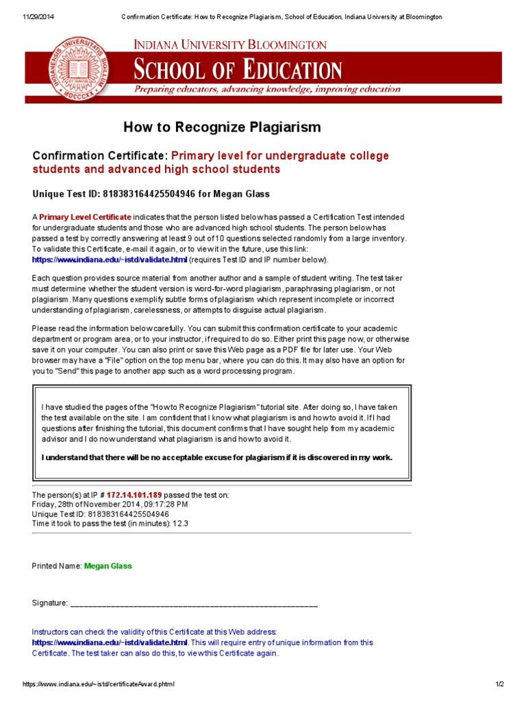 Plagiarism Certificate Indiana University Bloomington Paraphrasing Iu