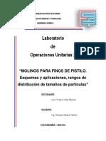 Informe 25- Molinos Para Finos de Pistilo. Esquemas y Aplicaciones, Rangos de Distribución de Tamaños de Partículas- Franco Yerko Beymar