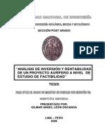 Tesis Uni.- Analisis de Inversion y Rentabilidad de Un Proyecto Aurifero