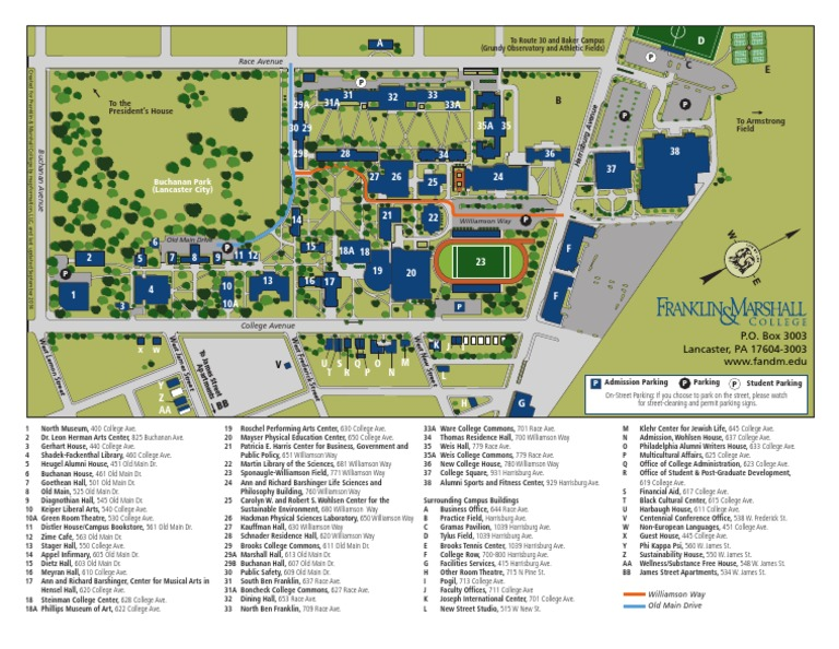 Franklin Marshall College Campus Map Students Universities And
