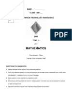 2013 AT1 HSC Mathematics Qs