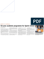 Singapore Sports School to Offer 6-Year Education Programme, 03 Apr 2009, Straits Times