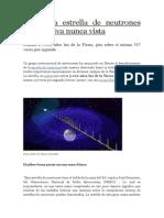 Hallan La Estrella de Neutrones Más Masiva Nunca Vista