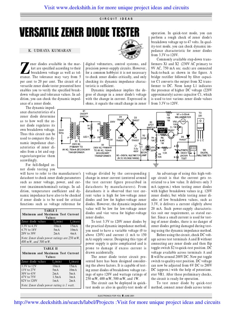 Zener Diode Tester Power Supply Circuits