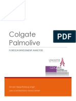 Colgate International Finance Foreign Investment Analysis (indian subsidiary)
