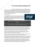 Management Accounting Costing and Budgeting