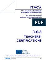 Itaca project - Report on Teachers' Certifications