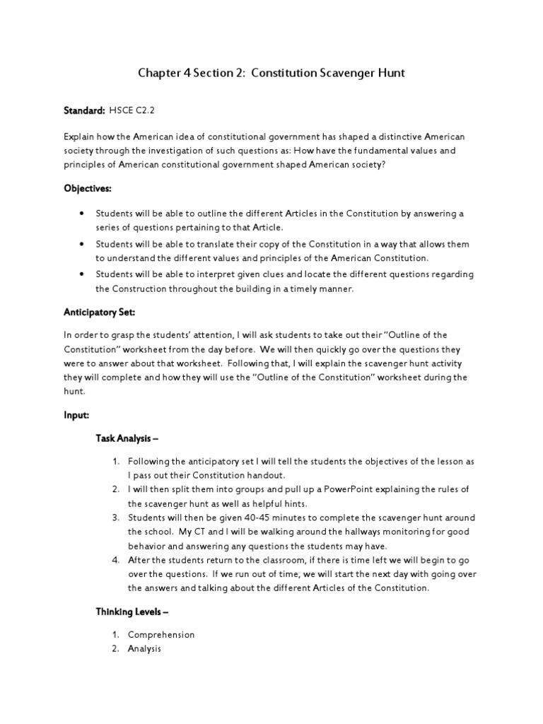 chapter 4 section 2 constitutional scavenger hunt lesson plan ...