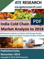 India Cold Chain Storage Market Analysis to 2018