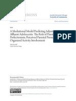 A Mediational Model Predicting Adjustment in Affluent Adolescents
