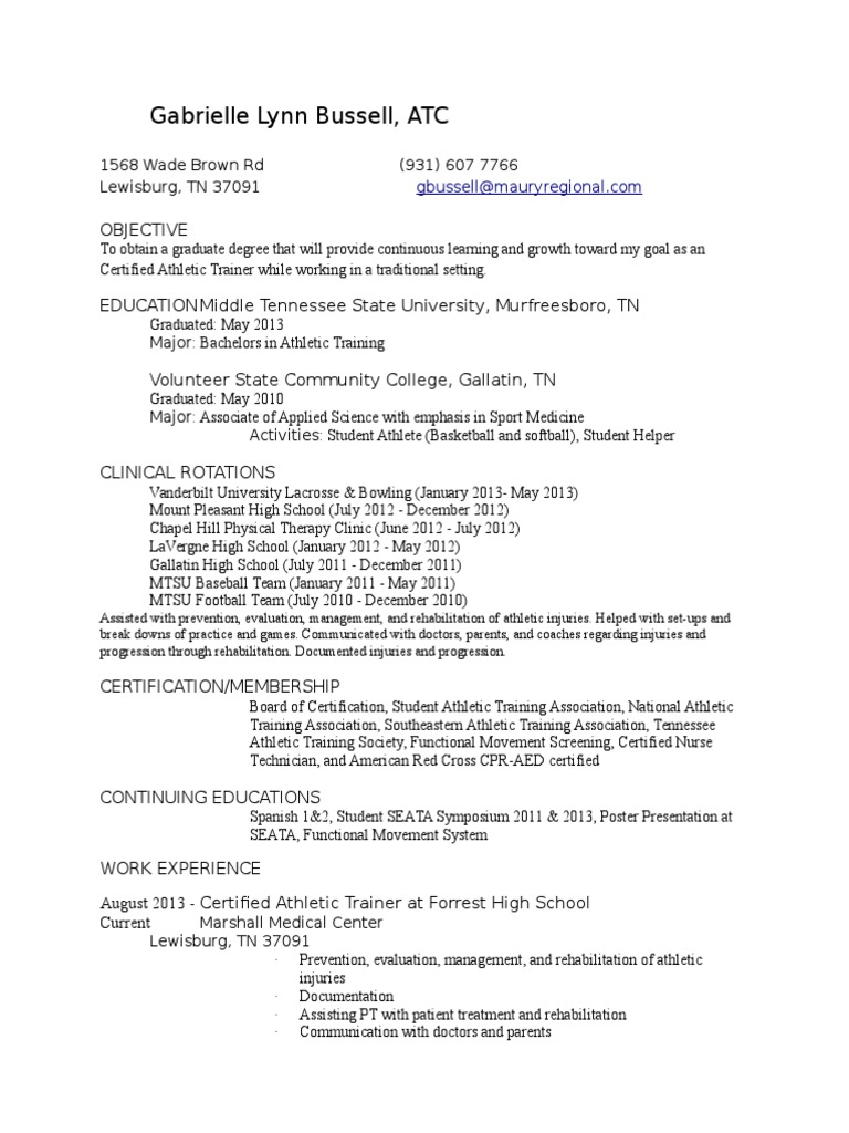 Resume Physical Therapy Public Health