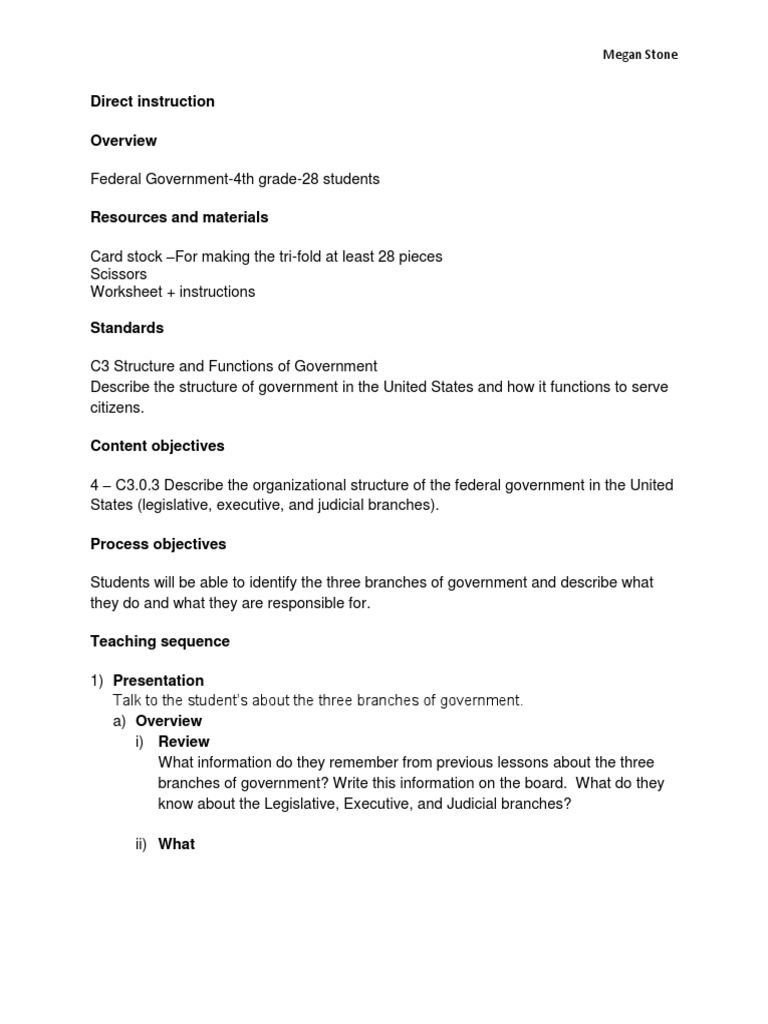 Megan Stone Direct Lesson 3 Branches Of Government Separation Of