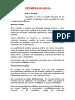 Carpintería de Madera, aluminio, metalica y vidrio