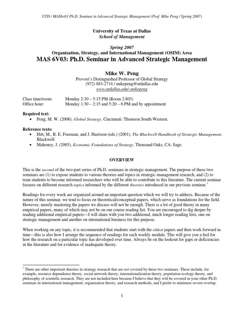 strategic management research paper topics