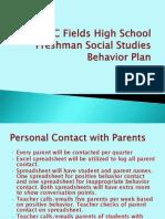 behavior plan for freshman social studies