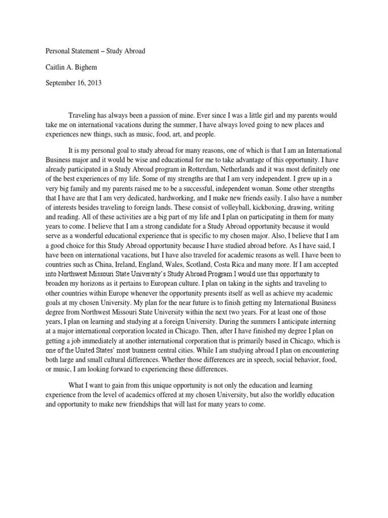 Study abroad essay