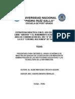 """Estrategia Didáctica Con El Uso Del Software Libre """"Ardora"""" y El Rendimiento Académico en El Área de Comunicación Del 3ro """"a"""" de Primaria de La i.e.e """"Coronel Bolognesi"""" de Tacna, 2011."""