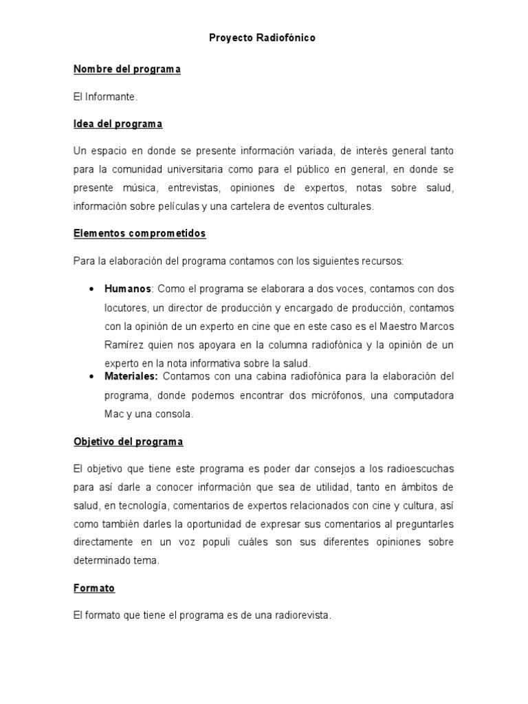 Ejemplo De Un Proyecto De Radio Radio Informacion